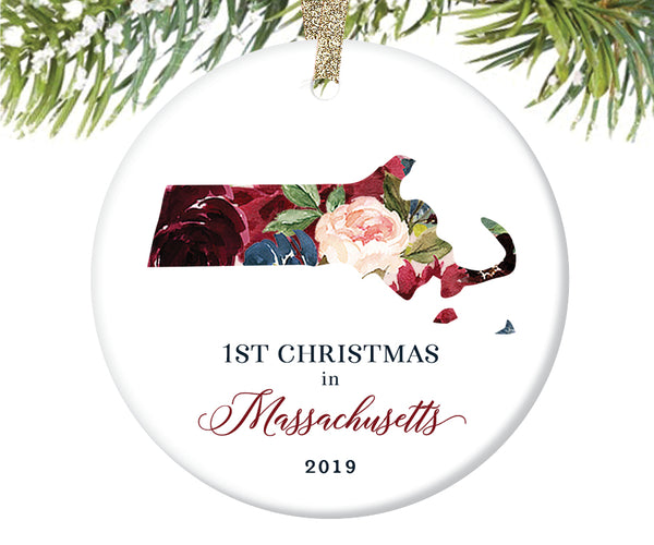 1st Christmas In Massachusetts Christmas Ornament  |  664