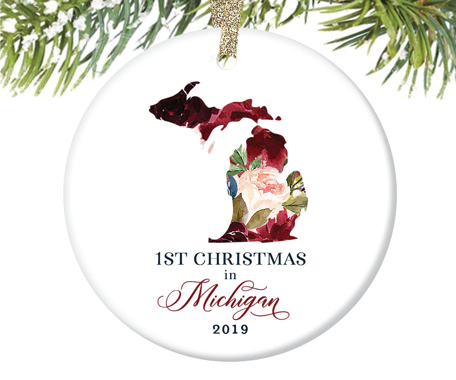 1st Christmas In Michigan Christmas Ornament  |  665