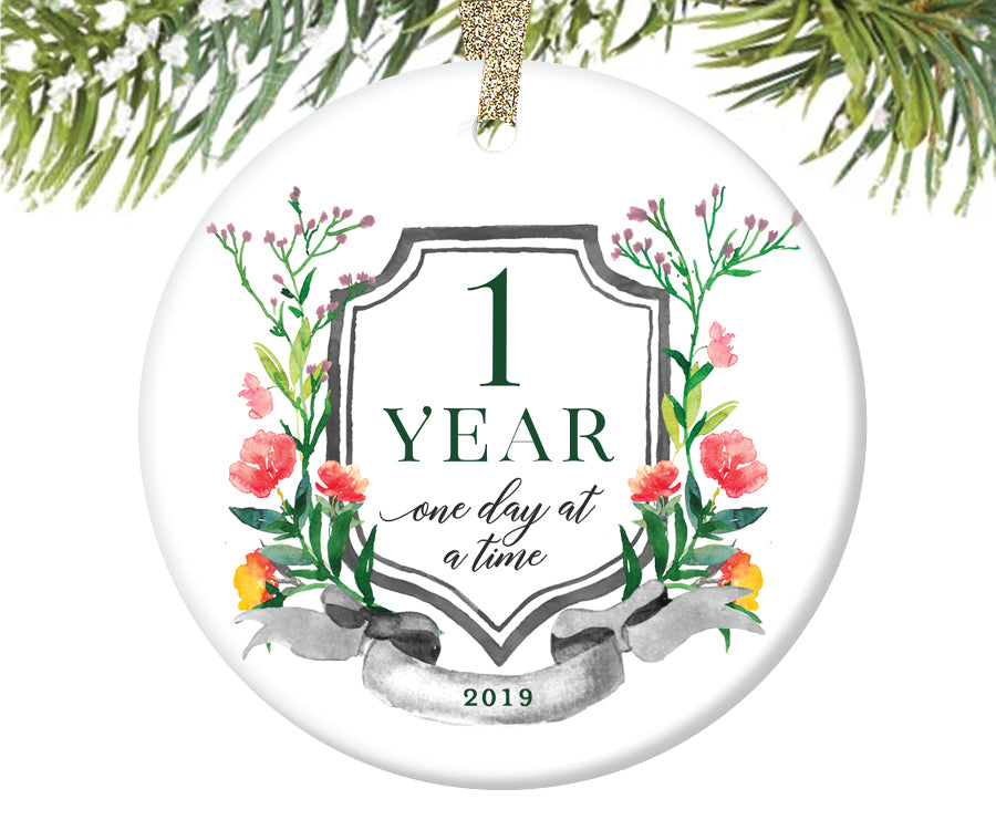 1 Year Sobriety Christmas Ornament  |  679