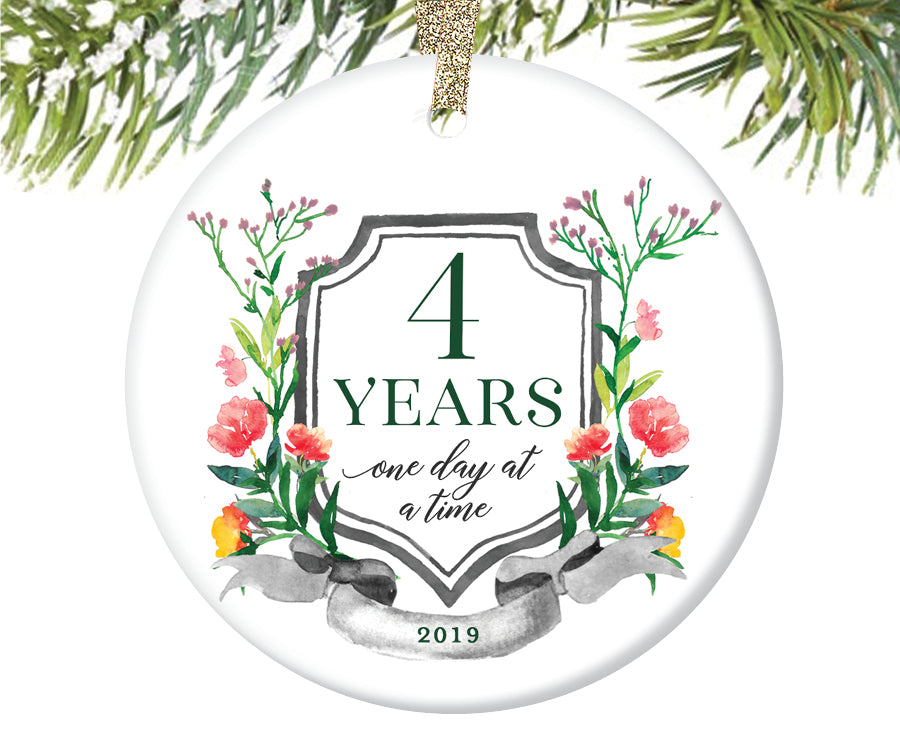 4 Years Sobriety Christmas Ornament  |  682