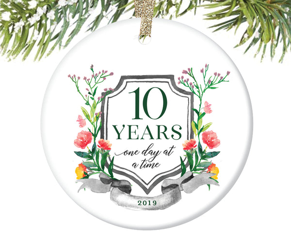 10 Years Sobriety Christmas Ornament  |  684