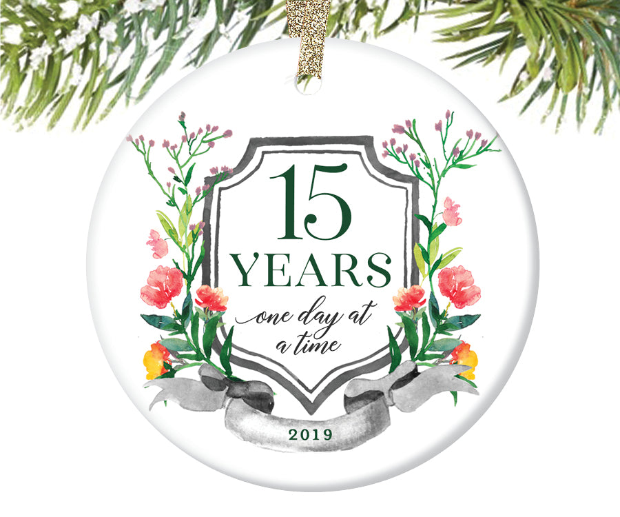 15 Years Sobriety Christmas Ornament  |  685
