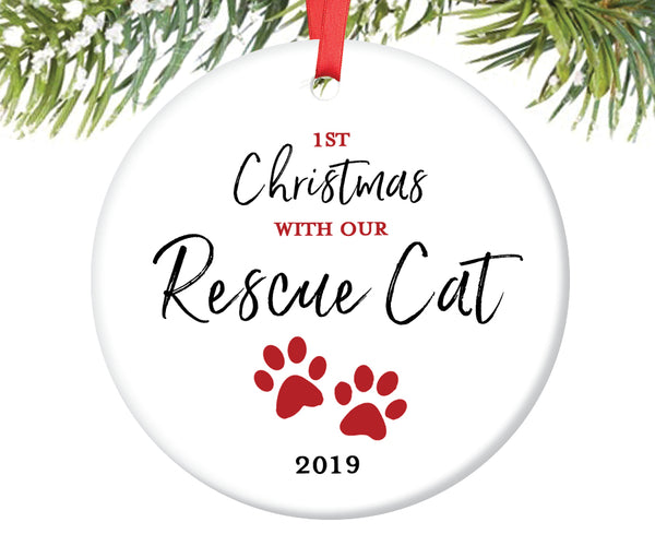 Rescue Cat Christmas Ornament, Personalized | 702