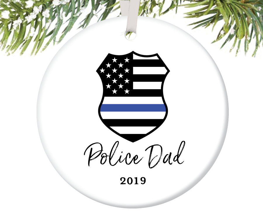 Police Dad Christmas Ornament, Personalized | 706