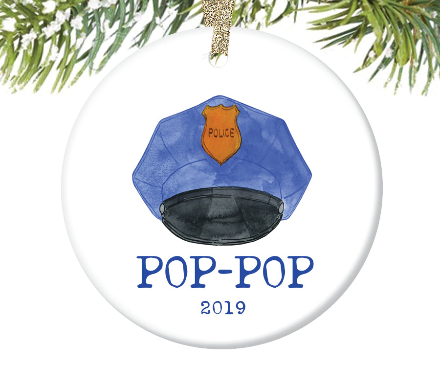 Police Pop-Pop Christmas Ornament, Personalized | 723