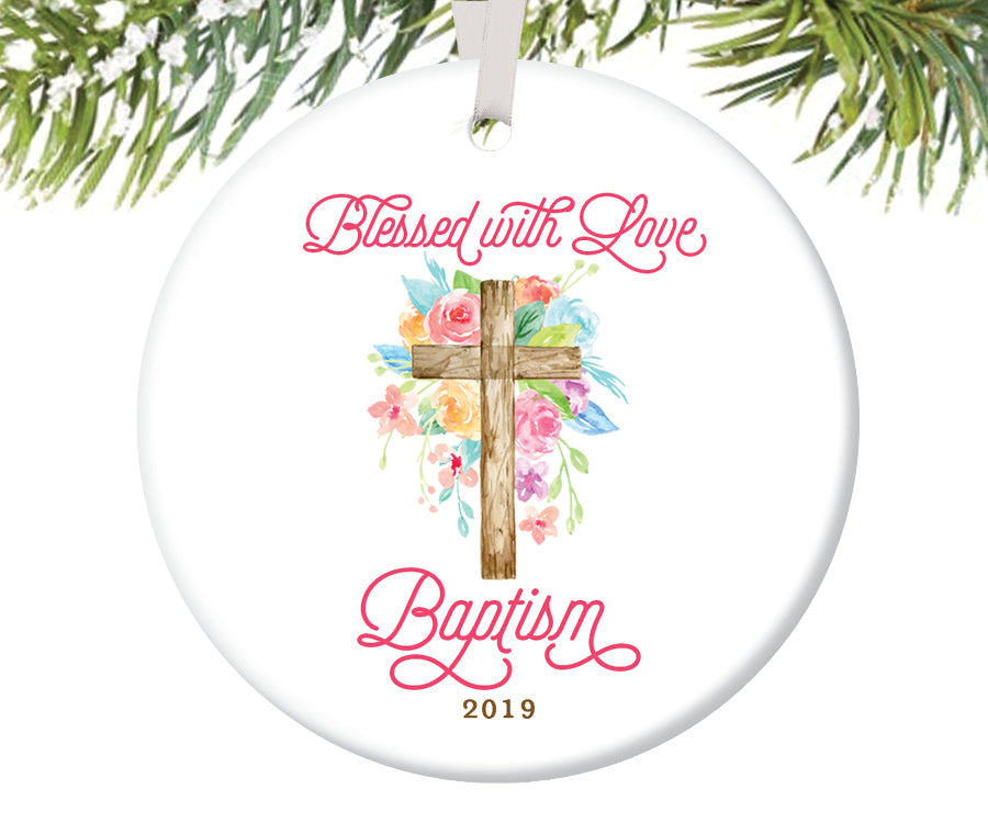 Blessed with Love Baptism Ornament, Personalized | 729