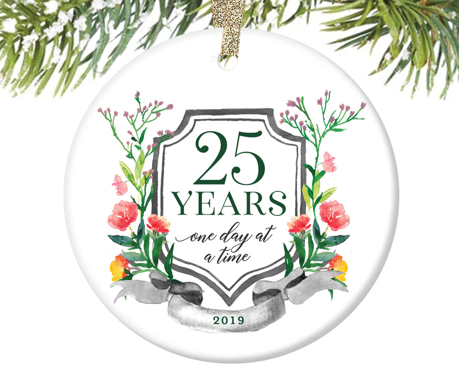 25 Years Sobriety Christmas Ornament  |  737