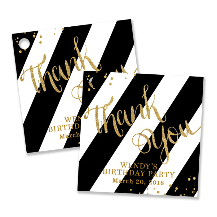 """Wendy"" Black + Gold Birthday Party Favor Tags"