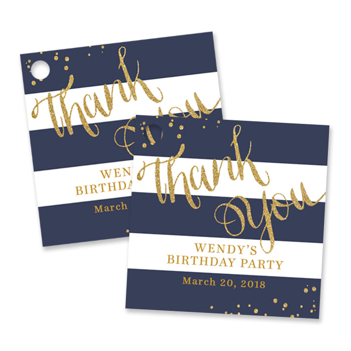 """Wendy"" Navy + Gold Birthday Party Favor Tags"