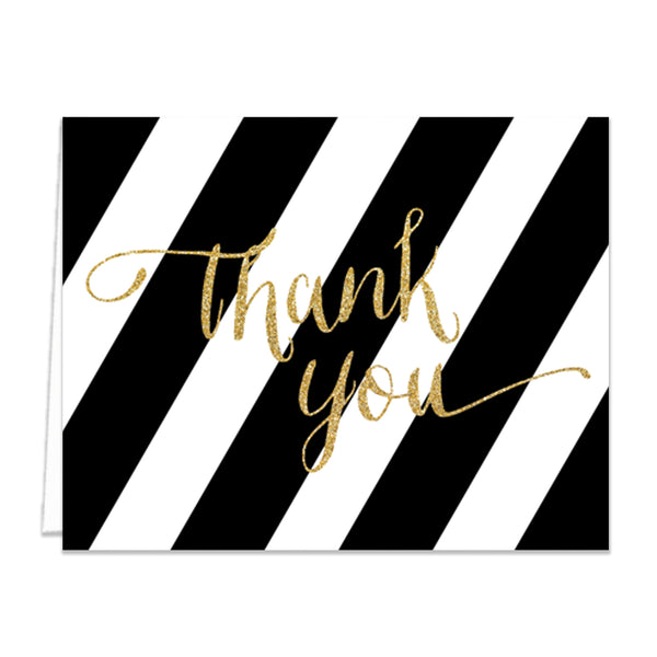 """Wendy"" Black + Gold Thank You Card"