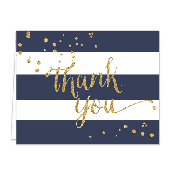 """Wendy"" Navy + Gold Thank You Card"