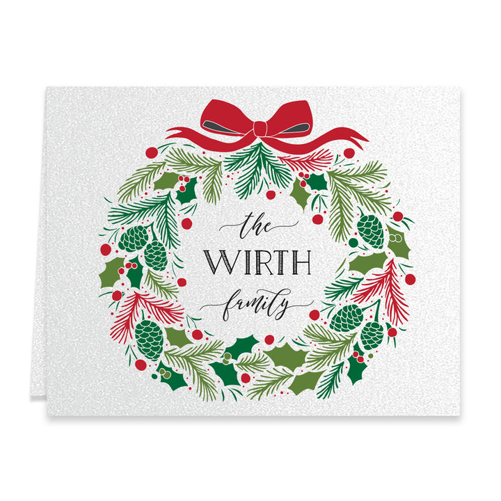 Christmas Wreath Personalized Greeting Card