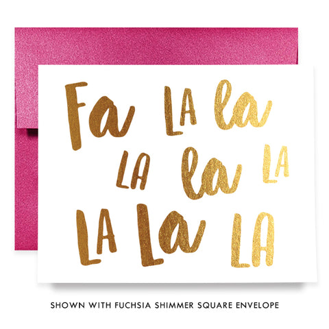 Fa La La Gold Foil Boxed Holiday Cards | Yates
