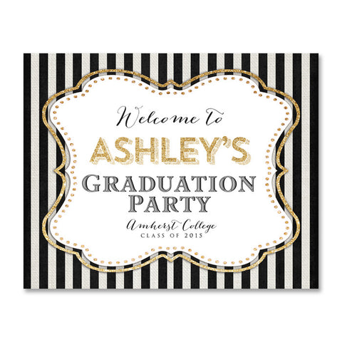 Ashley black and white striped graduation party welcome sign with gold glitter by digibuddha.com