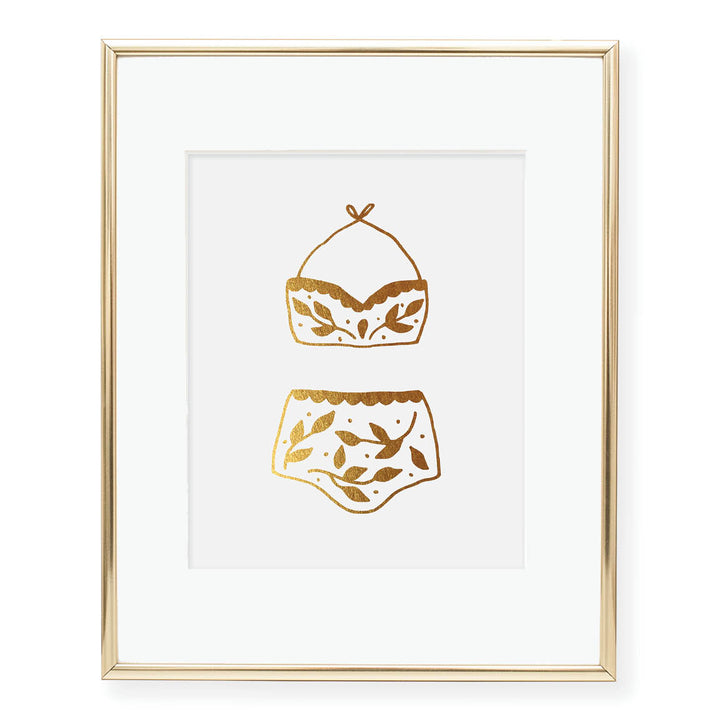 Two Piece Bathing Suit Foil Art Print