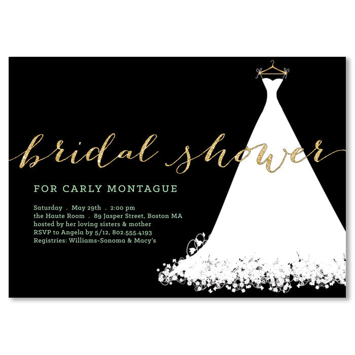 Bridal shower invitation wedding dress black gold digibuddha carly black gold bridal shower invitation filmwisefo