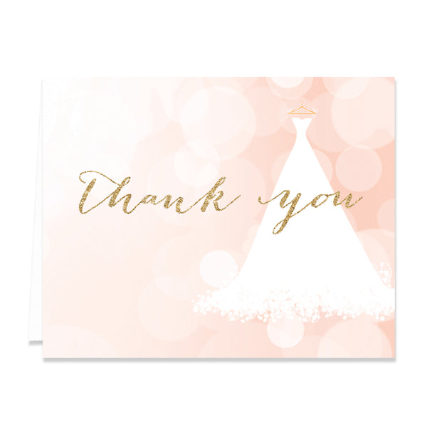 """Carly"" Blush + Gold Glitter Bridal Thank You Card"