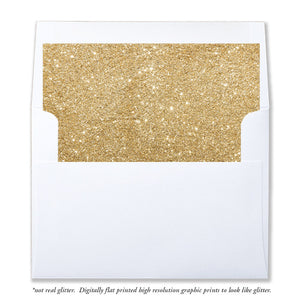 """Carly"" Gold Glitter Envelope Liners"