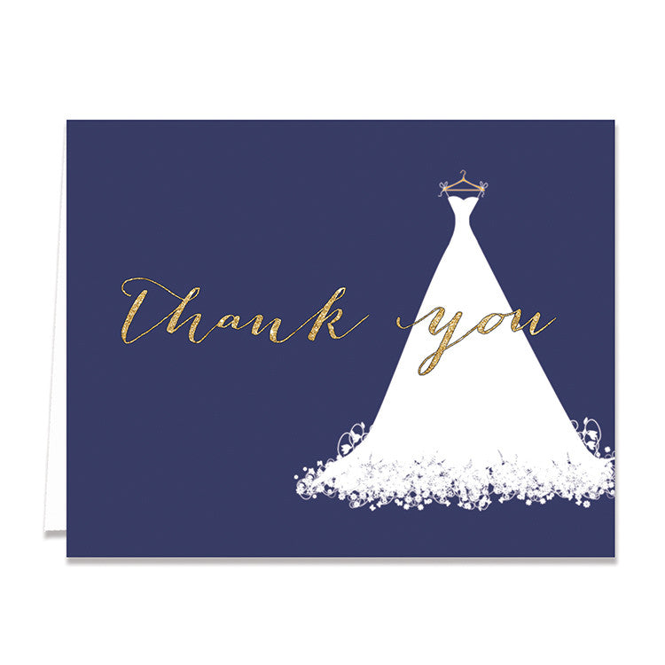 """Carly"" Navy + Gold Glitter Bridal Thank You Card"