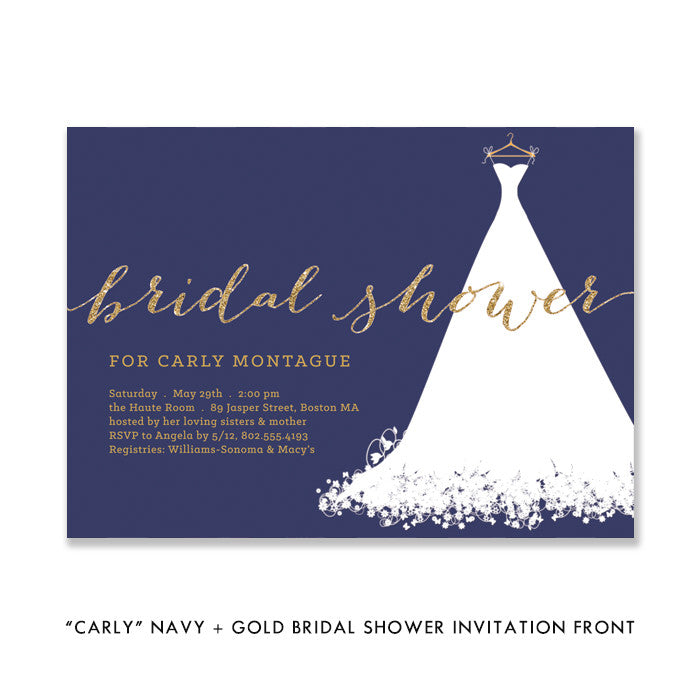 """Carly"" Navy + Gold Bridal Shower Invitation"