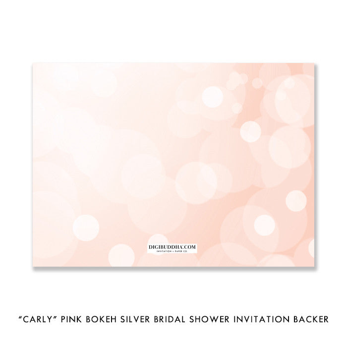 """Carly"" Pink Bokeh Silver Bridal Shower Invitation"
