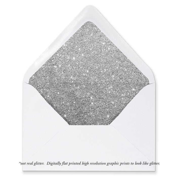 """Carly"" Silver Glitter Envelope Liners"