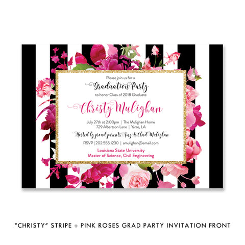 """Christy"" Stripe + Pink Roses Graduation Party Invitation"