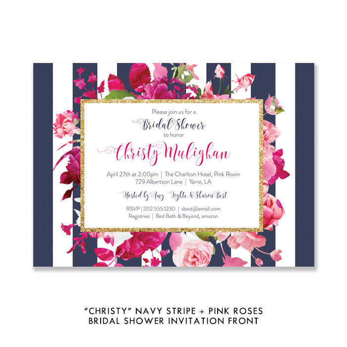 """Christy"" Navy Stripe + Pink Roses Bridal Shower Invitation"