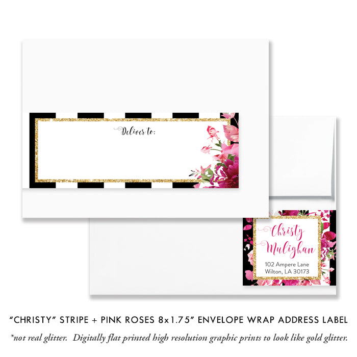 """Christy"" Black Stripe + Pink Roses Baptism Invitation"