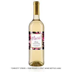 """Christy"" Stripe + Pink Roses Graduation Wine Labels"