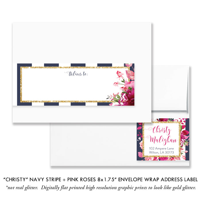 """Christy"" Navy Stripe + Pink Roses Baptism Invitation"