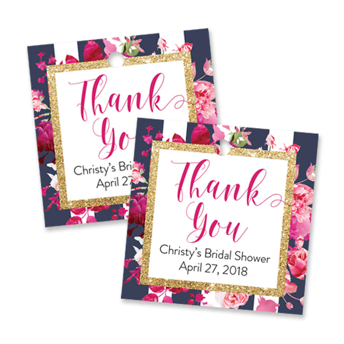 """Christy"" Navy Stripe + Pink Roses Bridal Shower Favor Tags"