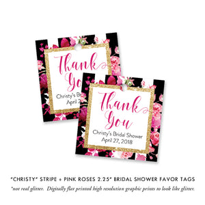"""Christy"" Black Stripe + Pink Roses Bridal Shower Invitation"