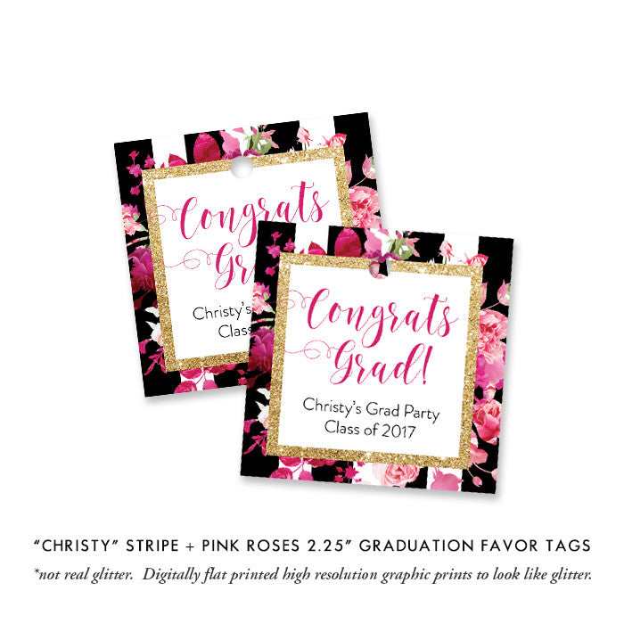 """Christy"" Stripe + Pink Roses Graduation Favor Tags"
