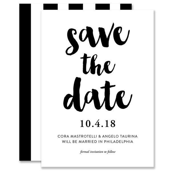 """Cora"" Black + White Vertical Stripe Save The Date Card"