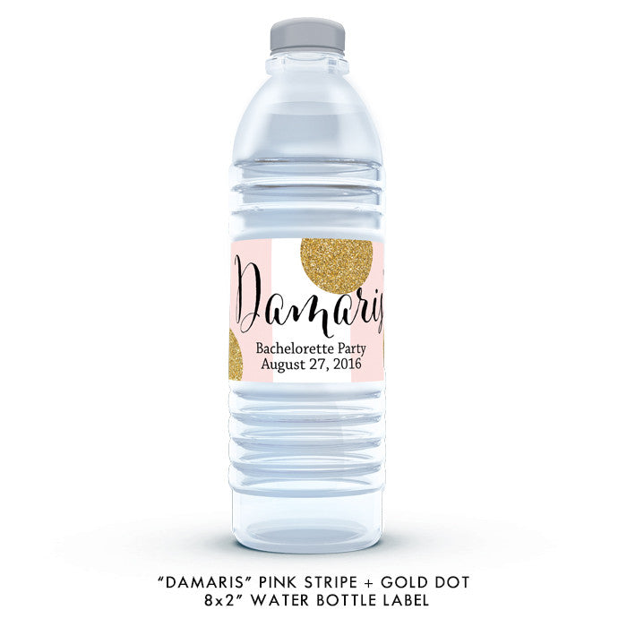 "Pink stripe + gold glitter dots ""Damaris"" bachelorette party water bottle labels 