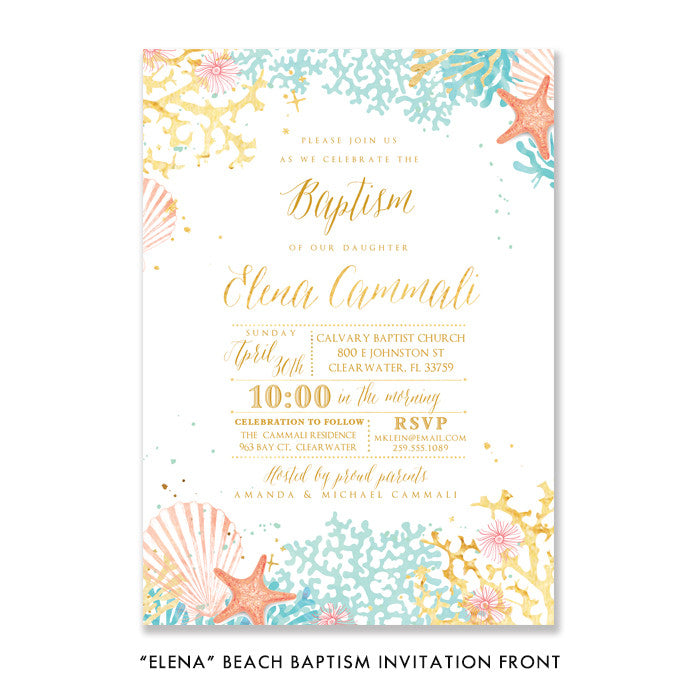 """Elena"" Beach Baptism Invitation"