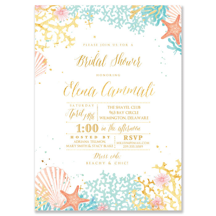 Bridal Shower Invitation Beach Nautical Ocean Sea Digibuddha