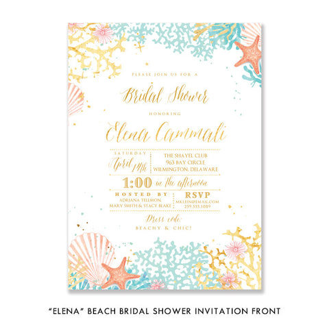 """Elena"" Beach Bridal Shower Invitation"