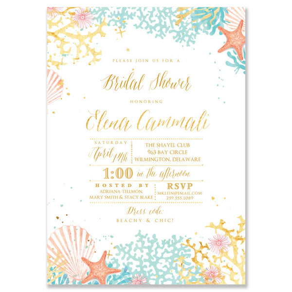 Bridal shower invitations digibuddha elena beach bridal shower invitation filmwisefo