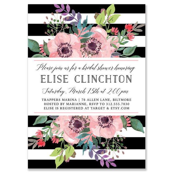 """Elise"" Garden Floral Bridal Shower Invitation"