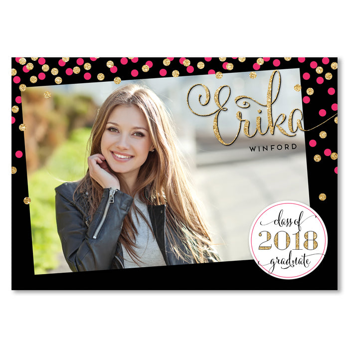 Pink gold glitter confetti graduation announcement digibuddha erika pink gold confetti graduation announcement filmwisefo