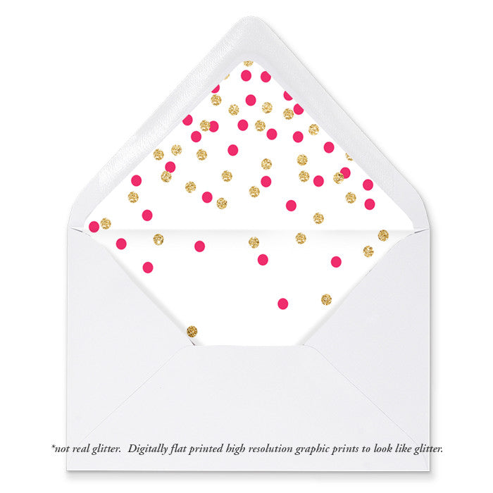 """Erika"" Pink + Gold Confetti Envelope Liners"