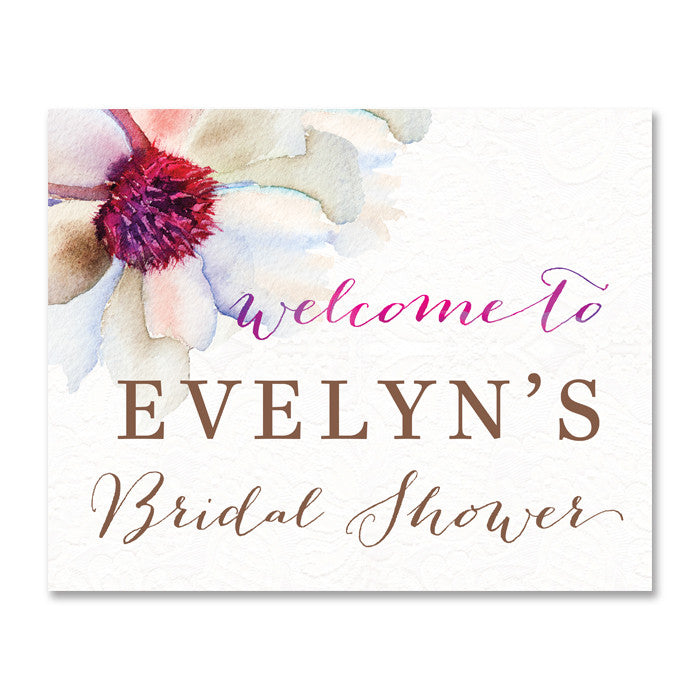 """Evelyn"" Watercolor Bloom Bridal Shower Welcome Sign"