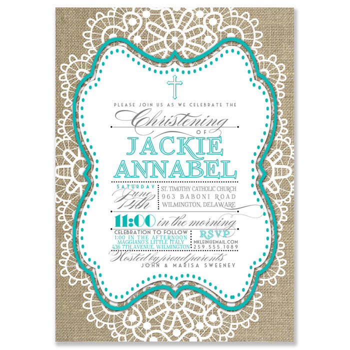 """Jackie"" Aqua Lace + Burlap Christening Invitation"