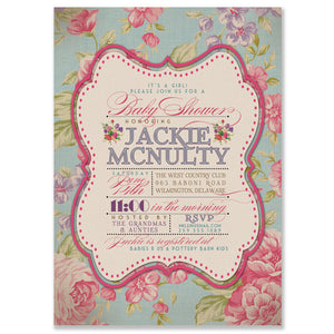 """Jackie"" Vintage Rose Baby Shower Invitation"
