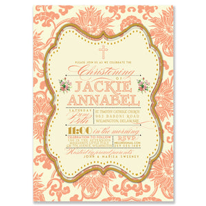 """Jackie"" Coral Damask Christening Invitation"
