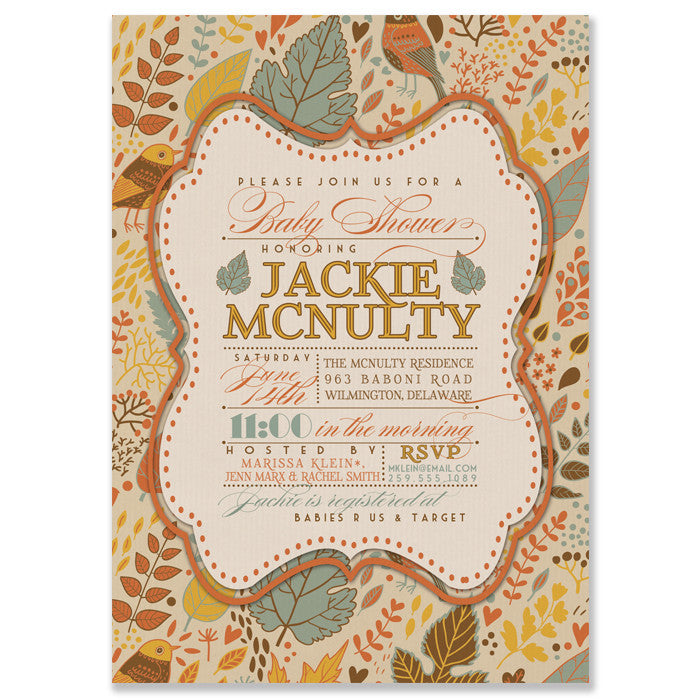 """Jackie"" Autumn Leaves Baby Shower Invitation"