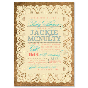 """Jackie"" Lace + Burlap Baby Shower Invitation"