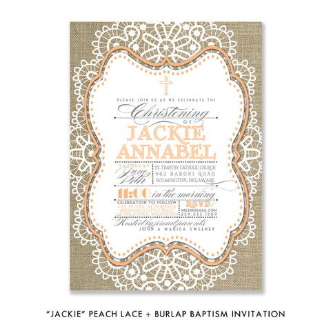"""Jackie"" Peach Lace + Burlap Christening Invitation"